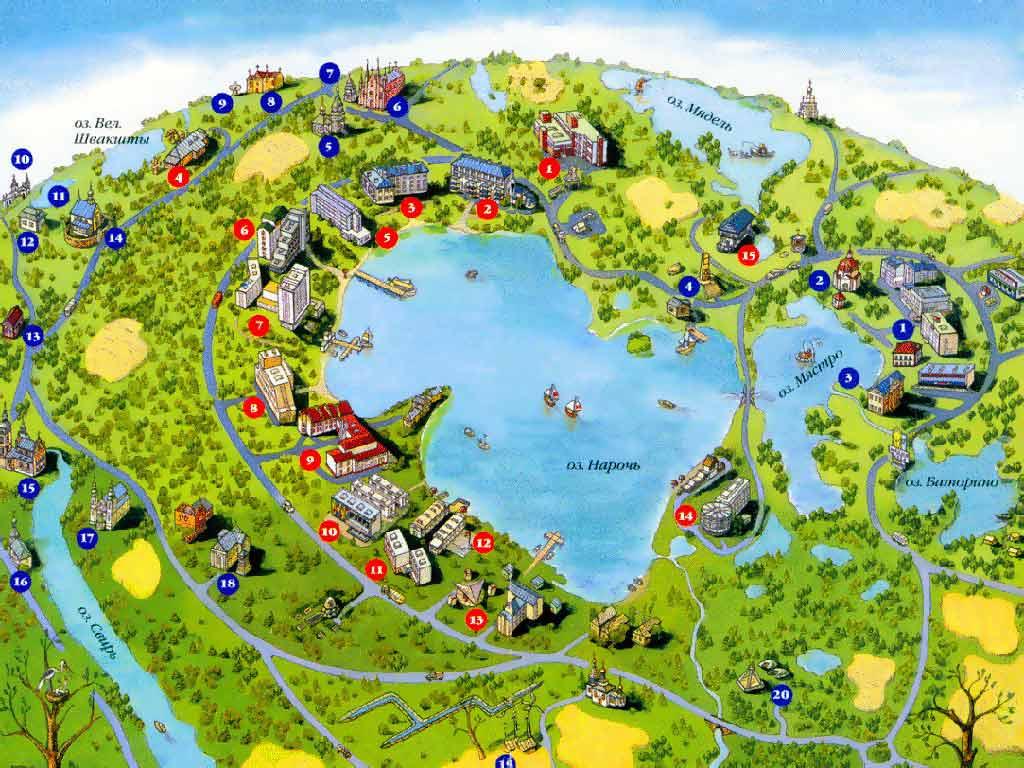 Санатории и дома отдыха на озере Нарочь. Санатории и дома отдыха на  карте Нарочи. Картинка