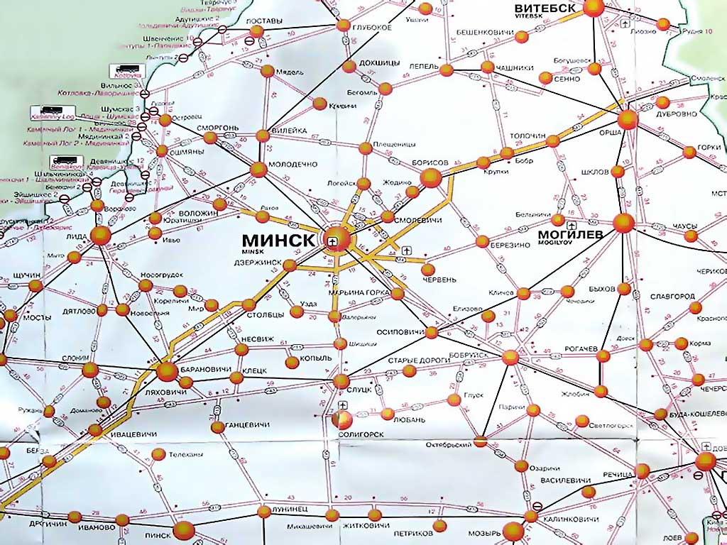 Схема автодорог белоруссии с проездом