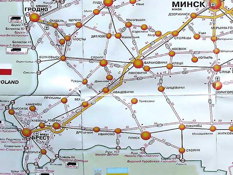 Схема дорог Брестской области