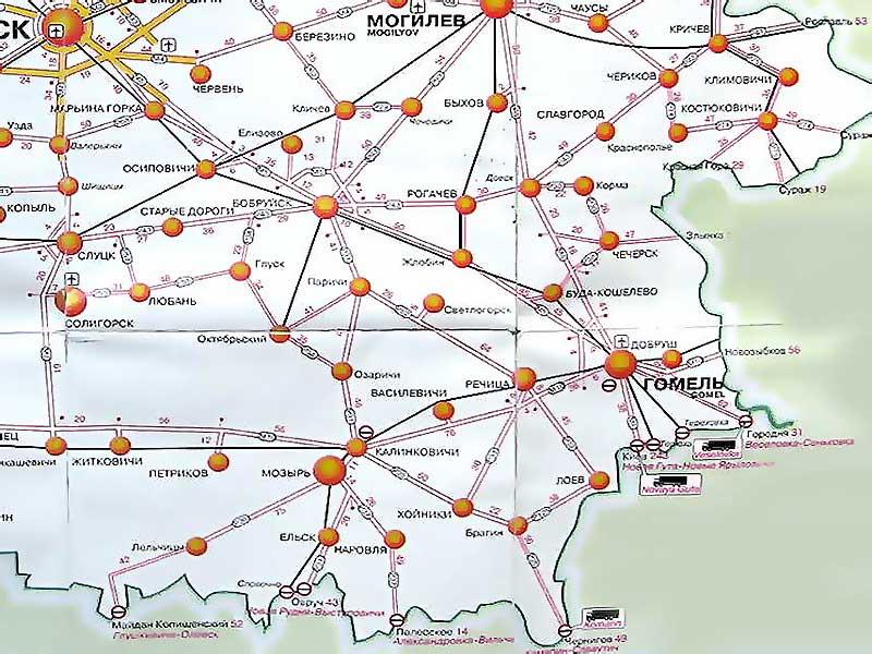 Схема дорог Гомельской области