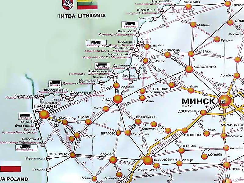 Схема дорог Гродненской
