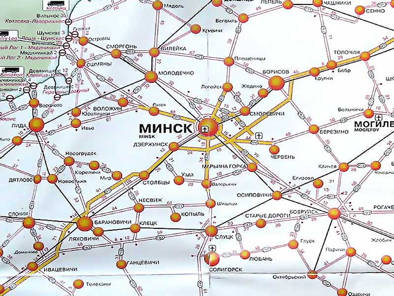 Схема дорог Минской области