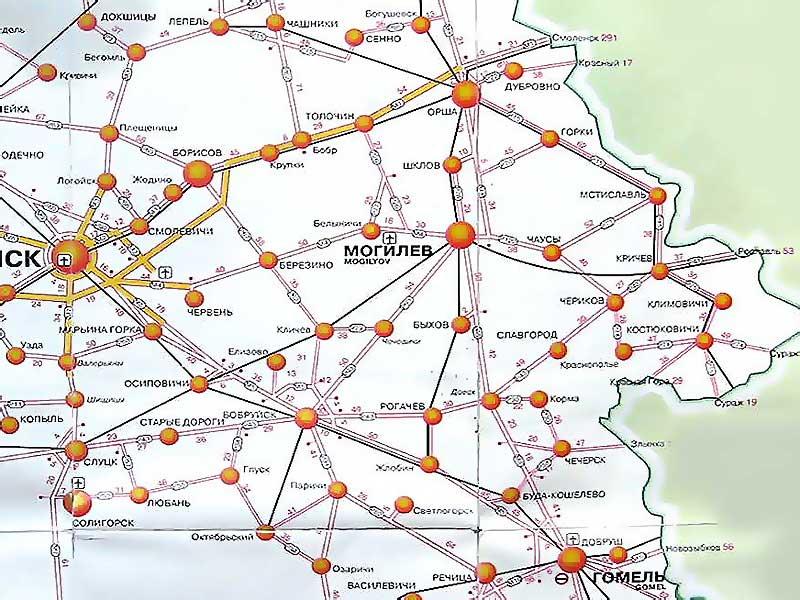 Схема дорог Могилёвской