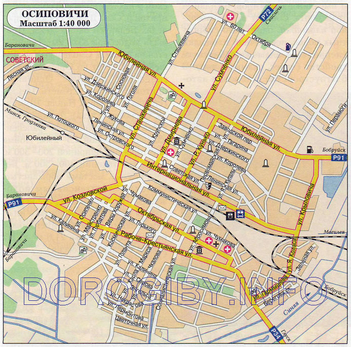 Карта города Осиповичи. Фото